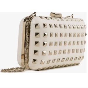 Forever 21 Clutch Structured White Leather Studded